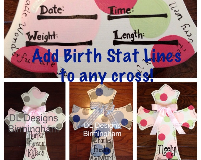 Add birth stats line to any hospital door hanger cross