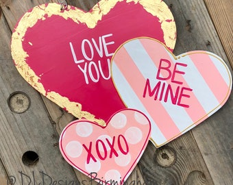 Valentine's Day Heart Door Hanger conversation hearts