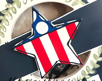 Star patriotic door hanger attachment American flag stars and stripes