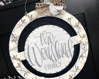 Cotton wreath door hanger handpainted and hand lettering interchangeable