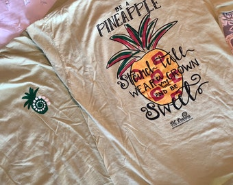 Hand lettered pineapple stand tall shirt