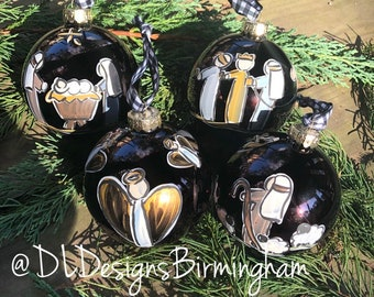 Nativity ornament set glass handpainted bronze glass