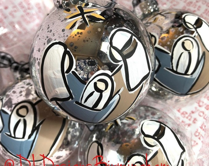 Baby jesus, mary, joseph glass handpainted silver glass ornament
