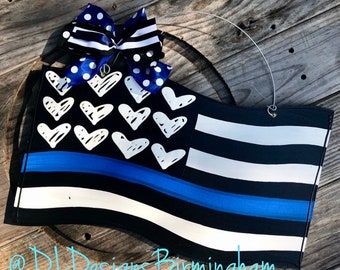 Police door hanger flag blue stripe back the blue