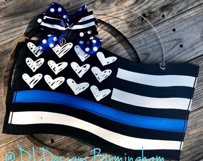 Police door hanger flag blue stripe back the blue