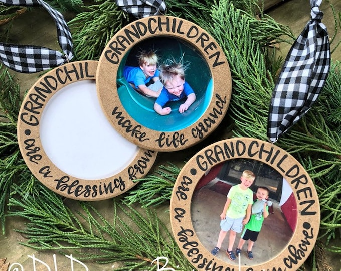 Grandchildren ornament wood picture frame handletteted grandkids grandparent gift