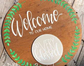 Year round welcome door hanger hand lettering interchangeable stained wood
