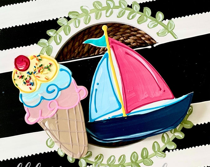 Featured listing image: Summer door hanger attachment ice cream, sailboat interchangeable