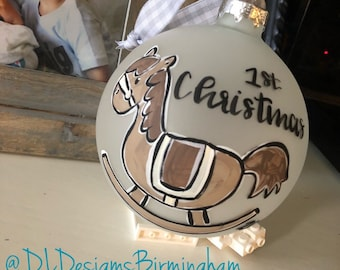 Baby First christmas ornament rocking horse personalized baby announcement