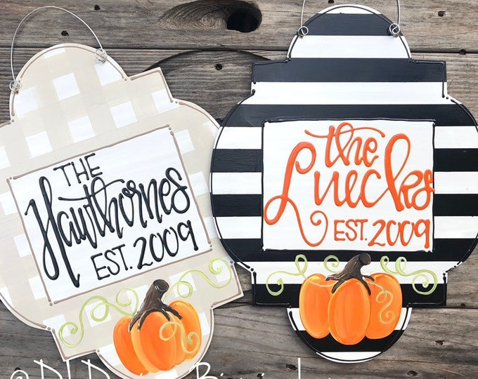 pumpkin door hanger with happy fall y'all thanks personalized pumpkin handlettered stripes gingham