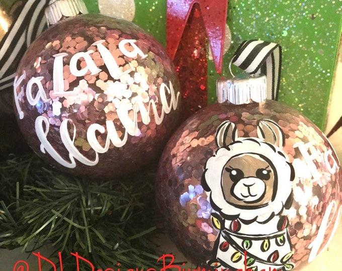 Llama glass confetti ornament handpainted pink glitter Christmas lights
