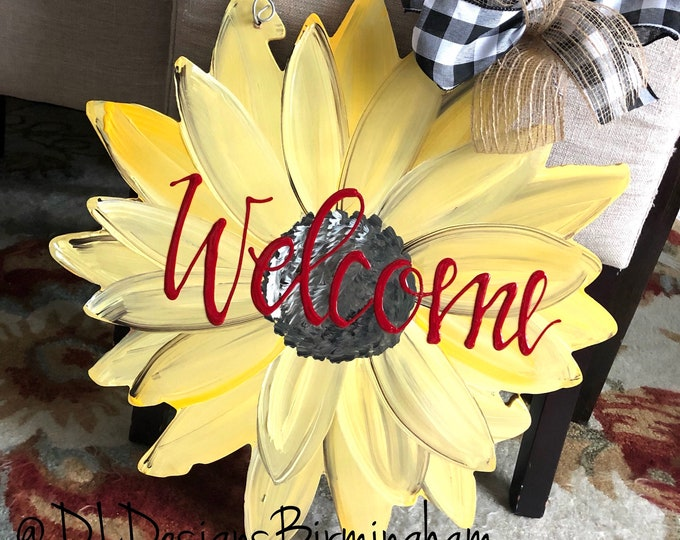 Sunflower door hanger with welcome hand lettered fall