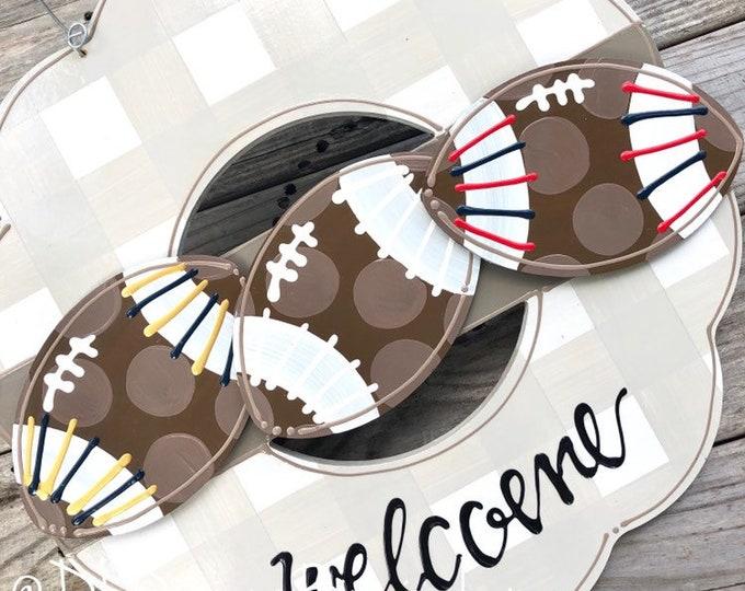 Football attachments for wreath door hanger high school football handpainted