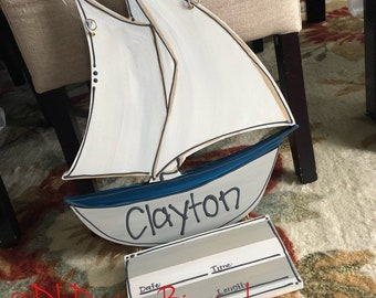 Sailboat hospital door hanger baby nursery art nautical hand painted beach