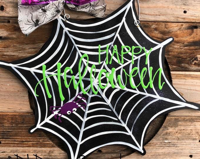 Spider web Halloween Door hanger happy halloween