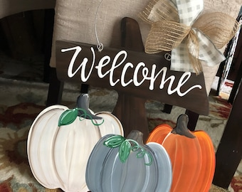 pumpkin door hanger  with welcome or personalized white pumpkin blue pumpkin orange pumpkin pumpkin patch