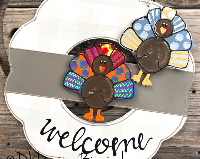 Turkey attachments for wreath door hanger thanksgiving
