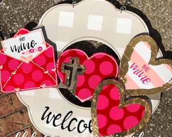 Valentine's Day  door hanger attachments heart, conversation heart, letter and envelope, xoxo