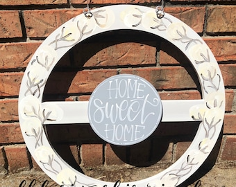 Cotton wreath door hanger handpainted and hand lettering interchangeable