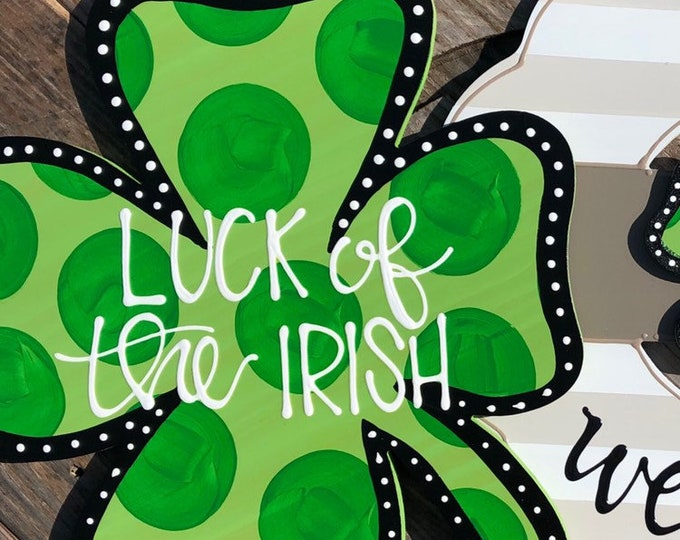 St  Patrick's Day Clover door hanger polka dots hamd lettered luck of the irish