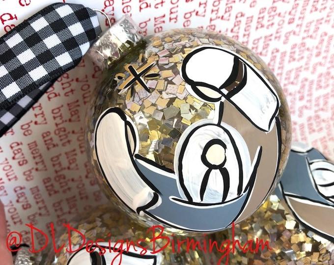 Baby jesus, mary, joseph glass handpainted gold confetti ornament
