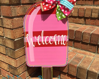 Pink and red popsicle door hanger