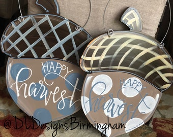 Acorn door hanger cream and grey blue with happy harvest polka dots hand lettered