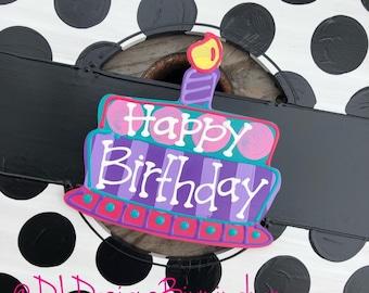 Happy birthday cake door hanger attachments interchangeable