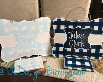 Hospital door hanger for baby boy, grey and navy, gingham for this child I prayed