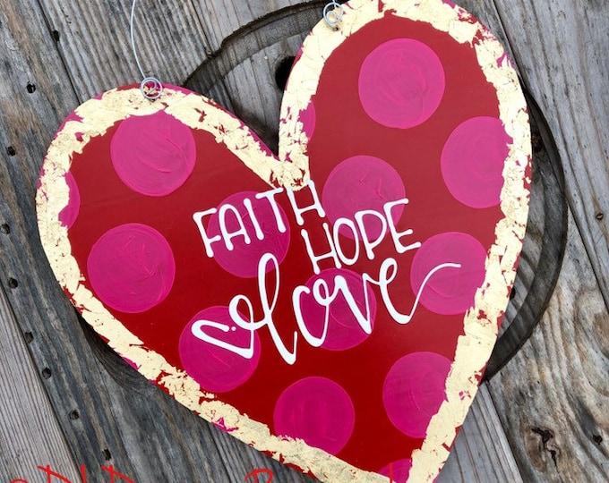 Heart Door Hanger personalized handlettered red pink good faith hope love personalized hand lettered