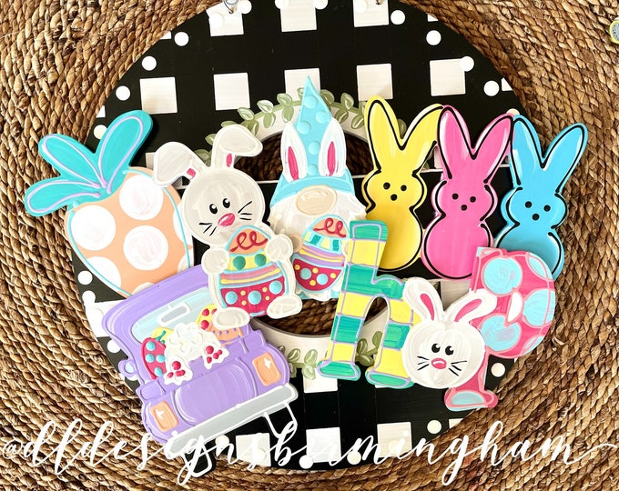 Featured listing image: Easter attachments for wreath or cross door hanger carrot peeps bunny hop gnome truck