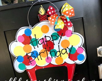 Happy Birthday cupcake with red base
