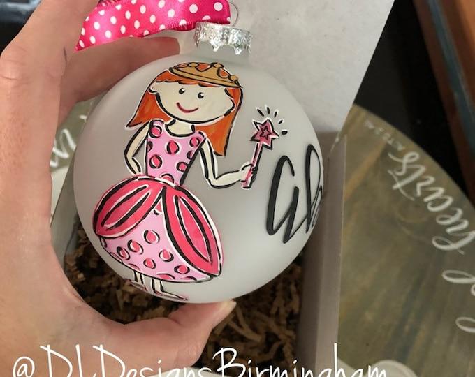 Princess ornament handpainted little girl custom