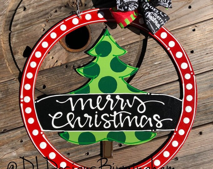 Christmas tree door hanger christmas with hand lettering merry Christmas