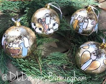 Nativity ornament set shatterproof handpainted gold