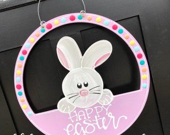 Easter bunny door hanger hand lettered bright
