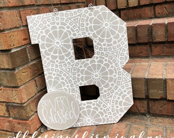 B Block letter initial with medallion design year round door hanger
