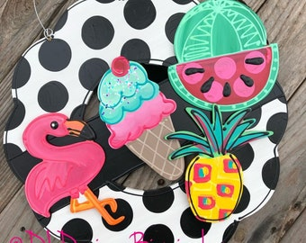 Summer door hanger attachment pineapple, flamingo, watermelon, icecream interchangeable