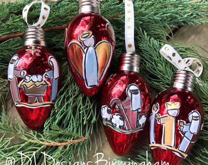 Nativity ornament set glass handpainted red light shaped glass