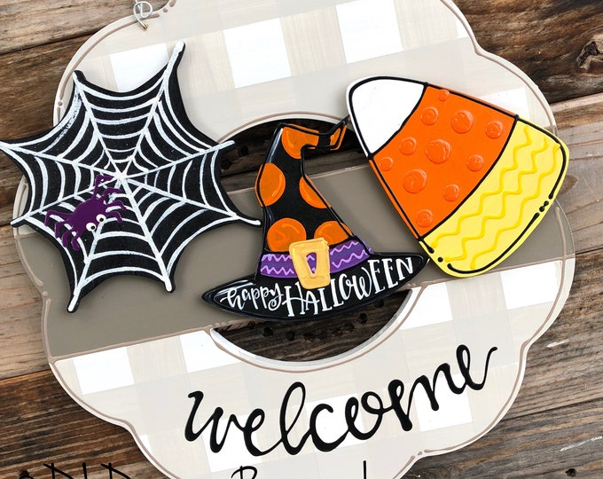 Halloween attachments for wreath door hanger candy corn, spider web, witch's hat, happy halloween