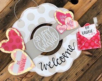 Valentines Day Door Hanger Attachments Heart Conversation Heart Letter And Envelope Xoxo