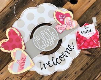 Valentine's Day  door hanger attachments heart, conversation heart, letter and envelope, xoxo