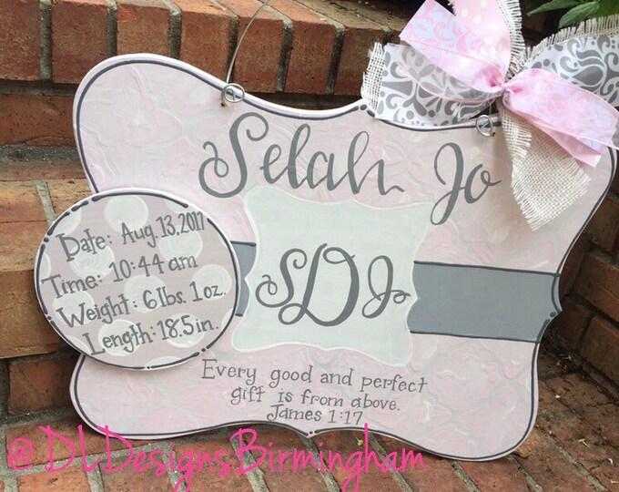 Hospital door hanger for baby girl birth stats nursey decor