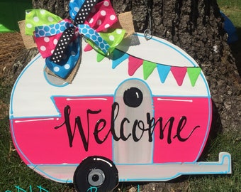 Camper door hanger retro personalized pink custom