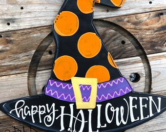 Witch's hat Halloween Door hanger Trick or Treat happy halloween