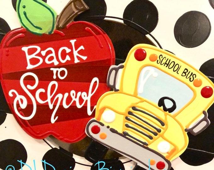 Back to school bus apple attachments for wreath door hanger hamd lettered interchangeable