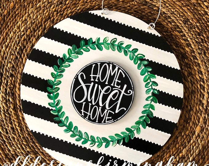 Featured listing image: Boxwood wreath door hanger with stripes and hand lettering interchangeable home sweet home black and white