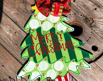 Christmas tree Door Hanger hand lettered hand painted merry Christmas