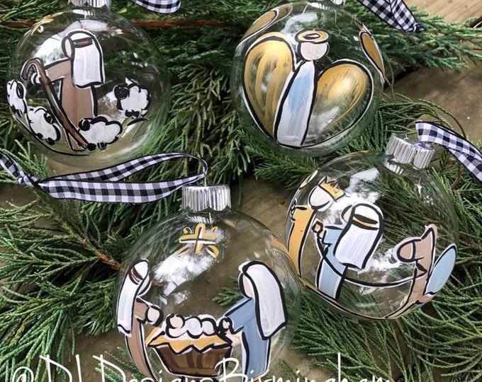 Nativity ornament set glass handpainted clear glass