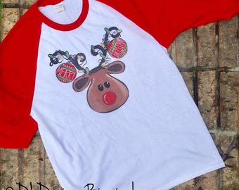 Inventory SALE Rudolph christmas raglan tee shirt, red sleeves, youth and adult sizes, screen printed